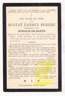 DP August Vanden Berghe ° Drongen 1833 † Sint-Amandsberg 1908 X Rosalie De Baets / Gent - Images Religieuses