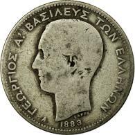 Monnaie, Grèce, George I, 2 Drachmai, 1883, Paris, B+, Argent, KM:39 - Grèce