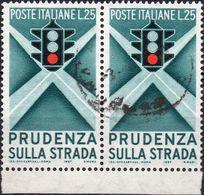 REPUBBLICA 1957 - PRUDENZA SULLA STRADA, SEMAFORO - 2 SERIE COMPLETE USATE - 1946-60: Usati