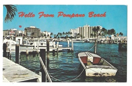 USA FLorida Hello From Pompano Beach Inland Water Way Boats Vintage Greetings Postcard - United States