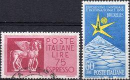 REPUBBLICA 1958 - ESPRESSI, ESPRESSO £ 75 + ESPOSIZIONE BRUXELLES - 2 SERIE COMPLETE USATE - 1946-60: Usati