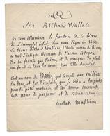 GUSTAVE MATHIEU 1818-1877 Poème Adressé Au Philanthrope Richard Wallace ( Paris - Fontaines Wallace ) - Autographs