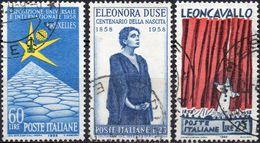 REPUBBLICA 1958 - ESPOSIZIONE BRUXELLES + ELEONORA DUSE + LEONCAVALLO - 3 SERIE COMPLETE USATE - 1946-60: Usati