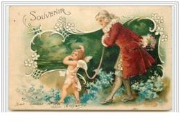 Carte Gaufrée - Souvenir - Homme Avec Un Ange - Fêtes - Voeux
