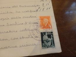 FRANCOBOLLO LUOGOTENENZA CENTESIMI 60 USATO COME FISCALE + MARCA DA BOLLO LIRE 8-DICEMBRE 1945 - 5. 1944-46 Luogotenenza & Umberto II