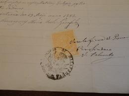 MARCA DA BOLLO  TRE LIRE VITTORIO EMANUELE II RE D'ITALIA SU DOCUMENTO-1883 - Steuermarken