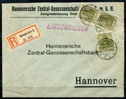 """German Empires.1921 Reco/Einschreib Bedarfsbrief Osnabrück Mit Mi.Nr.147 MeF Und Tstp""""Osnabrück""""1 Beleg - Deutschland"""