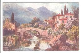 SAN REMO.  Cpa Colorisée (peinture). .   - Ponte Ella Rocca.   (scans Recto-verso) - San Remo