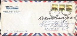 J) 1978 COLOMBIA, COMMERCIAL LETTER, HOTEL TEQUENDAMA, COFFEE, STRIP OF 3, MULTIPLE STAMPS, AIRMAIL, CIRCULATED COVER, F - Colombia