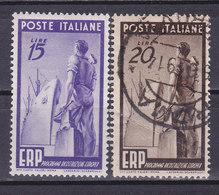 Italie, N° 540**+541°, ERP, Neuf**+°, Cote 50€  ( W1910/062) - 6. 1946-.. Repubblica