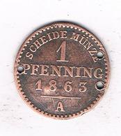 1 PFENNIG  1863 A  PREUSSEN  DUITSLAND /1551/ - [ 1] …-1871 : Etats Allemands