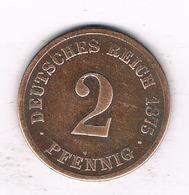 2  PFENNIG 1875 A   DUITSLAND /1553/ - [ 2] 1871-1918 : Empire Allemand