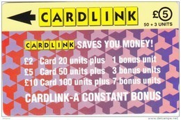 UK(GPT) - Jigsaw Design(CLK003), Cardlink Telecard, First Issue 5 Pounds, CN : 2CLKB, Tirage %4000, Used - Ver. Königreich
