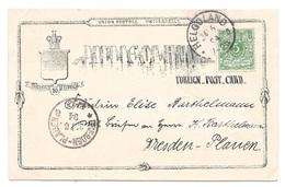 HELGOLAND, Carte Postale, Vers Dresden-Plauen, 5 Pf, 1894 - Deutschland
