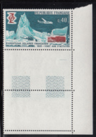France 1968 MNH Sc #1224 40c Polar Camp, Helicopter, Plane, Snocat Polar Explorations Corner Copy With Tabs - France