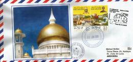Omar Ali Saifuddien Mosque. Brunei Darussalam.Island Of Borneo., Letter From Brunei To Andorra,with Arrival Postmark - Brunei (1984-...)