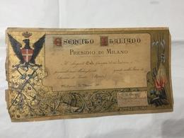 REGIO ESERCITO ITALIANO PRESIDIO  MILANO  DIPLOMA SCHERMA AQUILA SABAUDA 1891 SERGENTE 66°FANTERIA - Diplomi E Pagelle