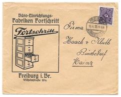 """Deutsches Reich - Lettre - """"Büro-Einrichtungs-Fabriken Fortschritt"""", Freiburg Vers Mainz, Mi. 230,1923 - Allemagne"""