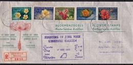 Ned. Antillen 1955 Kinderzegels Bloemen  Flowers  NVPH 248 / 252 Op FDC Naar Venezuela - Planten