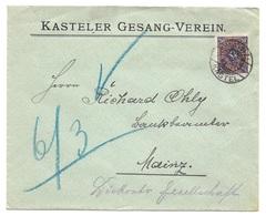 """Mainz-Kastel - Deutsches Reich - Lettre - """"KASTELER GESANG-VEREIN"""", Vers Mainz, Mi. 207,1923 - Allemagne"""