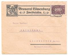 """ZWEIBRÜCKEN - Deutsches Reich - Lettre - """"BRAUEREI LÖWENBURG ZWEIBRÜCKEN"""", Vers Mainz, Mi. 219; 1923 - Allemagne"""