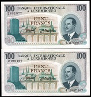 2 Billets à 100fr. Banque Internationale à Luxembourg, Neuf, Non Utilisés  2Scans - Luxembourg