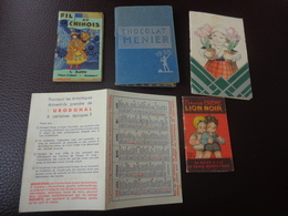 Lot De Petits Calendriers Publicite 1939-1935-1930-fil Au Chinois-cirage Lion Noir Ill.beatrice Mallet-chocolat Menier - Calendarios