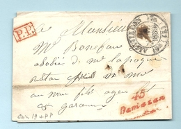 Lot Et Garonne - Damazan Pour Agen. Cursive 45/Damazan + CàD Type 12 D'AIGUILLON + PP Rouge - Marcophilie (Lettres)