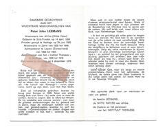 P 823. Pater JULES LEEMANS - Missionaris  - °ST-TRUIDEN 1898 /KARTAGO/ZAÏRE/aalmoezenier Te LEYSIN En GODINNE En +1976 - Images Religieuses