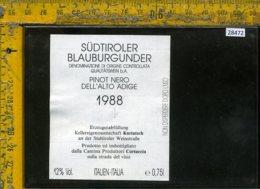 Etichetta Vino Liquore Pinot Nero Dell'Alto Adige 1988-Cortaccia BZ - Etichette