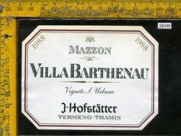 Etichetta Vino Liquore Barthenau 1988 Vigna S. Urbano-J. Hofstatter BZ - Etichette