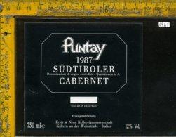 Etichetta Vino Liquore Cabernet Puntay 1987- Sudtiroler Bz - Etichette