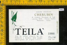 Etichetta Vino Liquore Teilà 1986 Vinicola Cherubin-Trezzo Tinella CN - Etichette