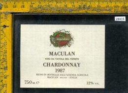 Etichetta Vino Liquore Chardonnay 1987 Maculan-Breganze - Etichette