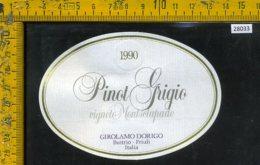 Etichetta Vino Liquore Pinot Grigio 1990 Girolamo Dorigo-Buttrio UD - Etichette