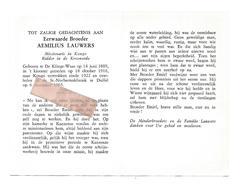 P 826. E.Broeder AEMILIUS LAUWERS - Miss.in KONGO -Ridder In Kroonorde - °DE KLINGE-WAAS 1889 /KONGO/ +DUFFEL 1965 - Images Religieuses