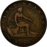 Monnaie, Espagne, Provisional Government, 5 Centimos, 1870, Madrid, TB+, Cuivre - [ 1] …-1931 : Royaume