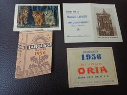 Lot Petits Calendriers Pub 1951-1957-1956-larousse-bijoux Oria-charrier Rochefort-labastie Pont L'abbe D'arnoult - Calendriers