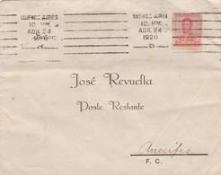 ENVELOPE SUCURSAL RARA CIRCULADO BARRIO BARTOLOME MITRE, ARRECIFES, POSTE RESTANTE. AÑO 1920 BANDELETA PARLANTE - BLEUP - Covers & Documents