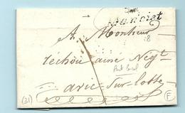 Gers - Manciet Pour Vic Sur Losse - Lettre Locale. Cursive 31/Manciet. 1842 - Marcofilie (Brieven)