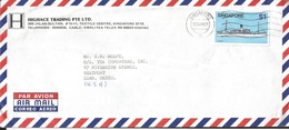 J) 1984 SINGAPORE, BOAT, AIRMAIL, CIRCULATED COVER, FROM SINGAPORE TO USA - Singapore (1959-...)