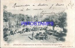 107847 URUGUAY DTO DE MINAS TRANSPORTE DEL AGUA SALUS CART A COW POSTAL POSTCARD - Uruguay