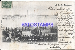 107850 URUGUAY COSTUMES MILITARY SOLDIER ARTILLERIA LIGERA SPOTTED CIRCULATED TO MEXICO POSTAL POSTCARD - Uruguay
