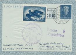 Nederland - 1953 - 30 + 5 Cent Juliana En Face, Luchtpostblad G5 + 25 Cent Van Amsterdam Naar Christchurch / New Zealand - Postwaardestukken
