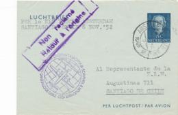 Nederland - 1952 - 35 Cent Juliana En Face, Luchtpostblad G4 Van Amsterdam Naar Santiago De Chile - Postwaardestukken