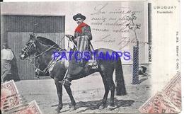 107852 URUGUAY COSTUMES GAUCHO A HORSE HACENDADO POSTAL POSTCARD - Uruguay
