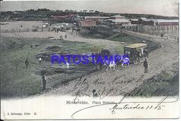 107853 URUGUAY MONTEVIDEO BEACH PLAYA RAMIREZ TRANVIA TRAMWAY A HORSE CIRCULATED TO ARGENTINA POSTAL POSTCARD - Uruguay