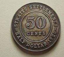 Straits Settlements 50 Cents 1920 Silver - Monnaies