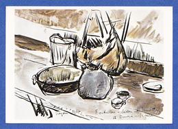 NOYON 60  ( PEINTURE DE LA GUERRE 14 18  )   ANDRE DUNOYER DE SEGONZAC  PEINTRE  BOUTEILLON BIDON ET MUSETTE A NOYON - Noyon