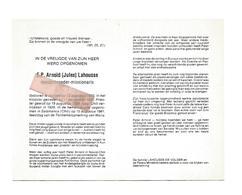 P 835. E.P. ARNOLD (Jules) LAHOUSSE - °AARSELE 1902 / CHILI : + SALAMANCA (Chili) 1981 - Images Religieuses